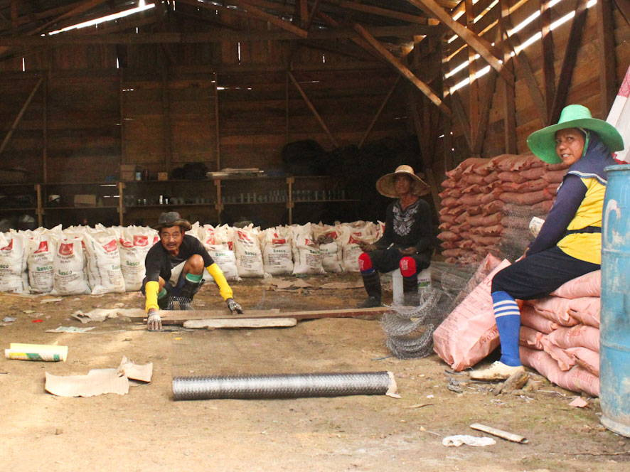 Three workers in a shed
