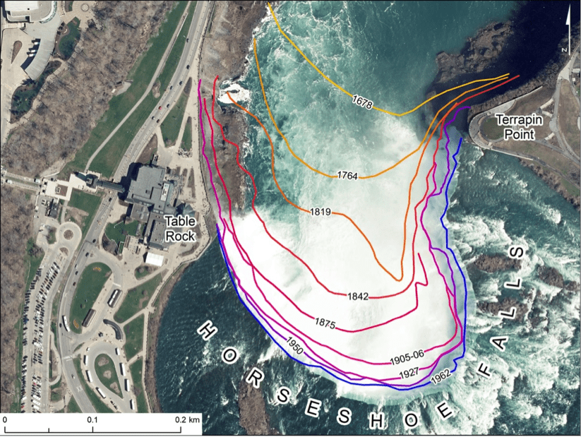 A geospatial analysis of recession rate of Horseshoe Falls with dated lines showing past crestlines