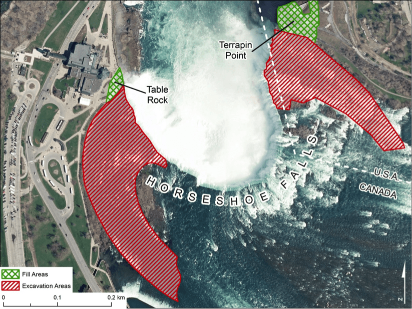 Geospatial analysis indicating where infilling has changed the crestline of Horseshoe Falls