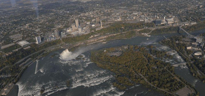 Aerial image of Niagara Falls from upriver