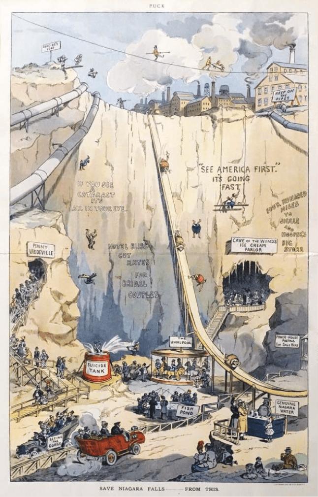 Turn of the century satirical cartoon showing tourists using a dry Niagara Falls
