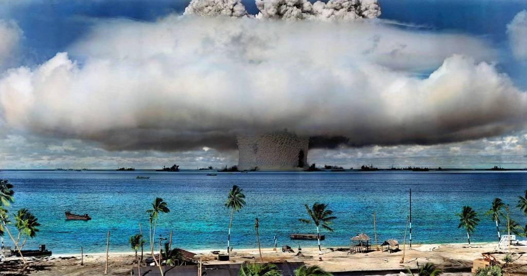 Mushroom cloud at sea level as a result of nuclear testing