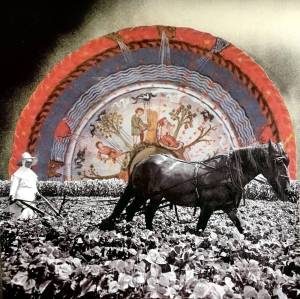 Collage of a black and white image of a nun and horse plowing a field with a wheel of life drawing behind.