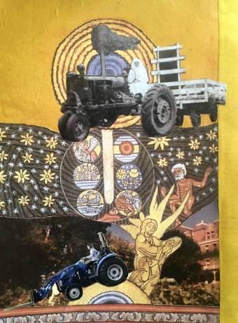 Collage combines two images of nuns driving tractors and art from the Middle Ages