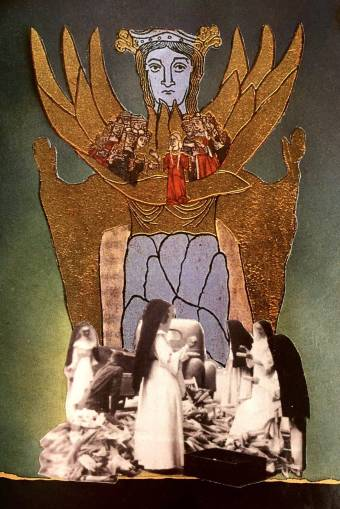 Collage combines a group of nuns in black and white gathered beneath a representation of a woman from the Middle Ages.