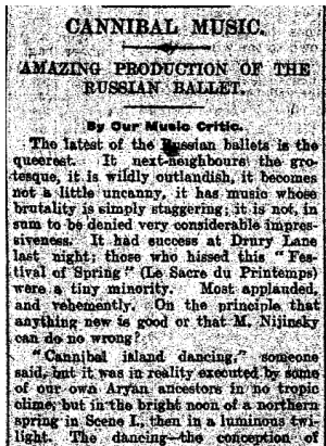 An excerpt of a 1913 review of The Rite of Spring by reporters of The Daily Mail