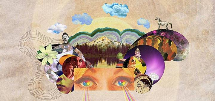 A trippy collage photo with a mountain scene and rainbows shooting out of someone's eyes.
