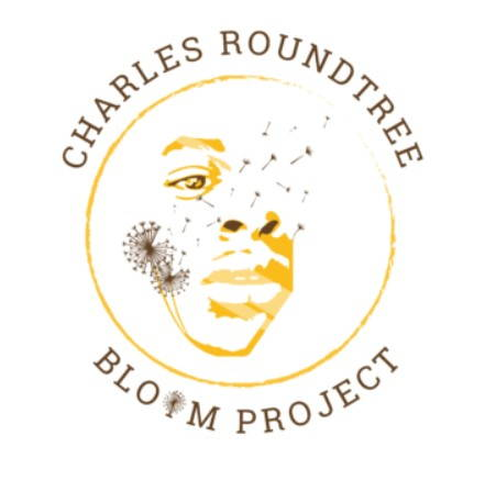 Sketch of a man's face, half drawn as dandelions. Charles Roundtree Bloom Project logo.