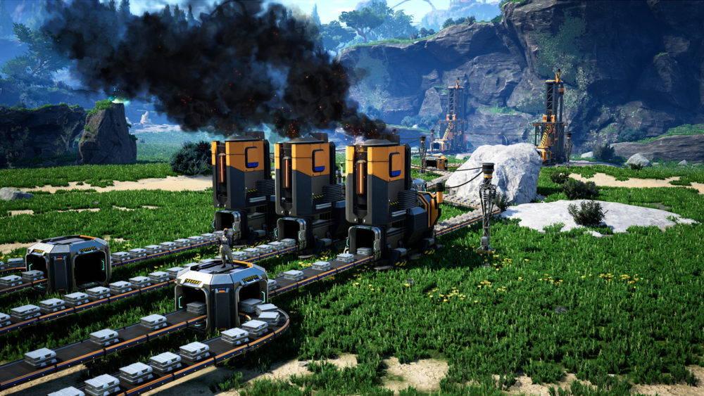 Three smokestacks with black smoke, mountains in the background. Video game still.