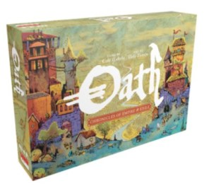 Box with the word Oath written on it and drawings of castles and buildings.