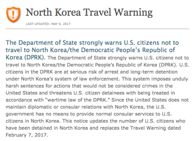 North Korea Travel Warning