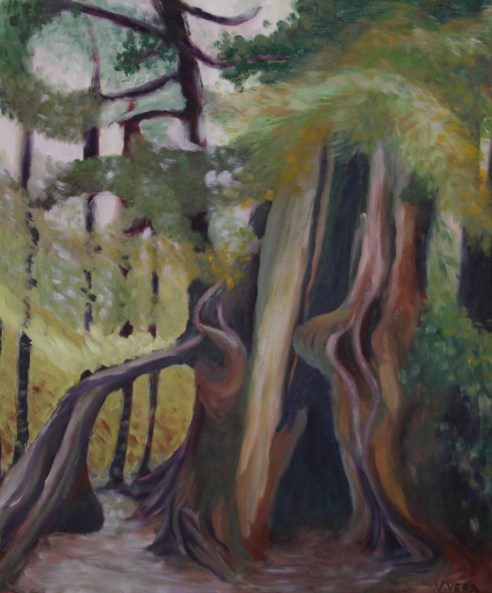Painting: Giant sequoias at the Sequoia National Park - California USA.