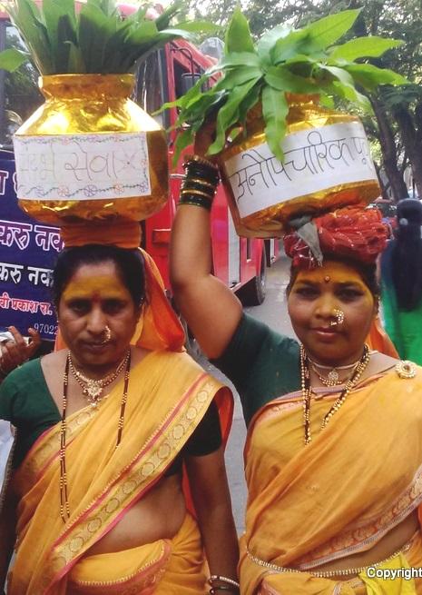 Women spreading the message of saving plants - Gudi Padva Carnival, India