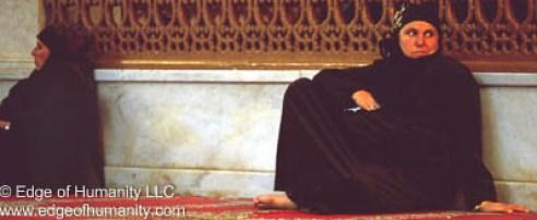 Women in the Umayyad Mosque, Damascus, Syria.