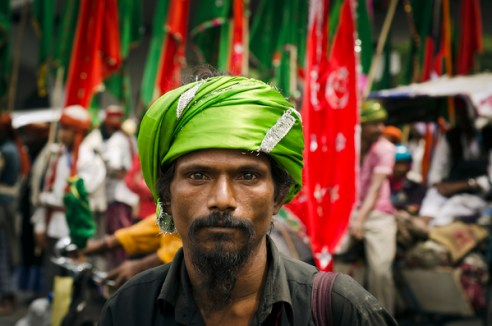 Sufi pilgrim. Pilgrims coming from all over India to join pilgrimage to the tomb of Sufi saint Kwaja Gharib Nawaz but Bengali like this man are always great in number.