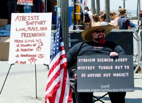 Atheist protesting Huntington Beach, California, USA