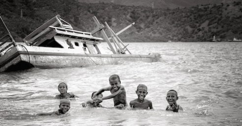 Timor Leste: Kids cool off in a bay just outside the country's capital of Dili.