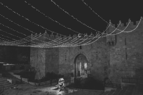 Damascus at Night June 16, 2015 - Lights decorate Damascus Gate in the old city of Jerusalem in preparation of Ramadan.
