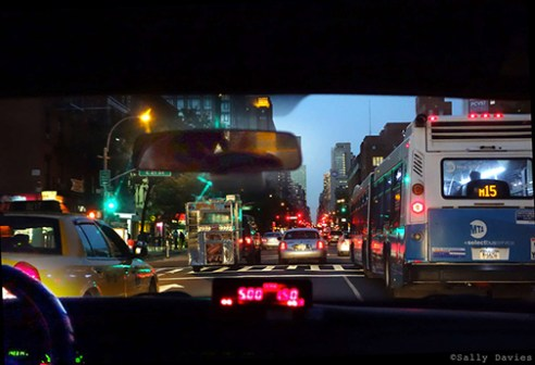 From back of Cab, NYC. Heading North on 6th Avenue