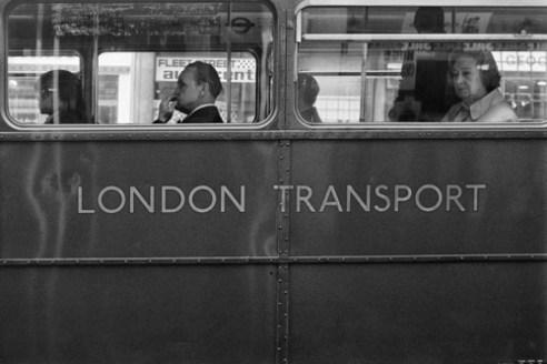 A bus in Fleet Street, London, England (January 1976)