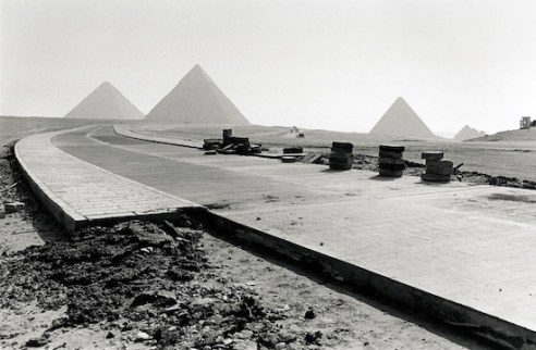 The electric train road nears completion. Snaking through the Giza plateau, when completed, it will be the only option for travelling around the pyramids. (Pyramids of Giza, Egypt)
