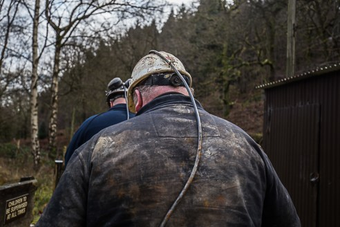 Free Miners on their way toward the visitors mine at Hopewell Colliery in the Forest of Dean.