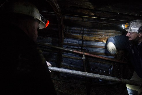 Hopewell Colliery, the miners discussing the conditions of the visitor's mine