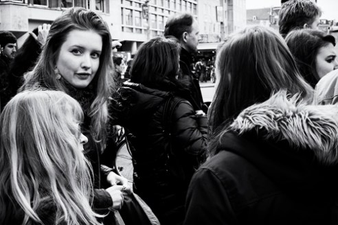 """Glimpse in the crowd"" Dam square, Amsterdam"