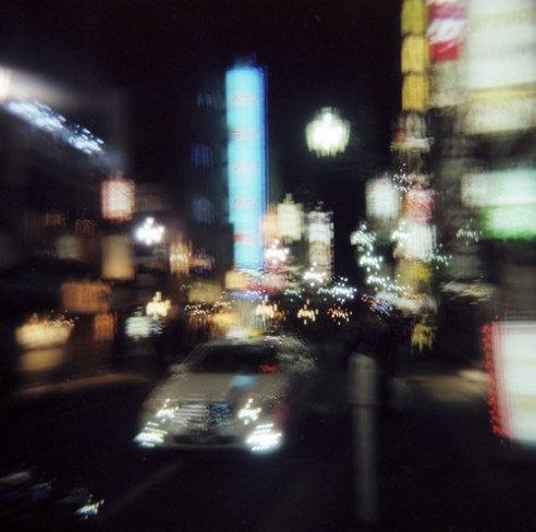 Downtown Tokyo at night. Multiple exposure using a Holga camera.