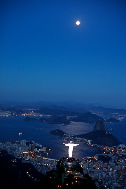 March 2011. Over Rio de Janeiro and Cristo Redentor ( Christ The Redeemer) statue.