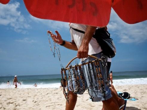 March 2011. A vendor on Copacabana Beach, RIo de Janeiro.