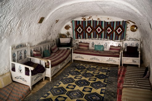 Living room of an underground troglodyte home. MATMATA