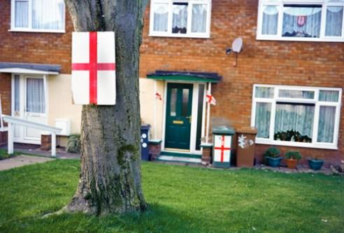 St.Georges Cross on Tree,bin and window Walsall - 2015