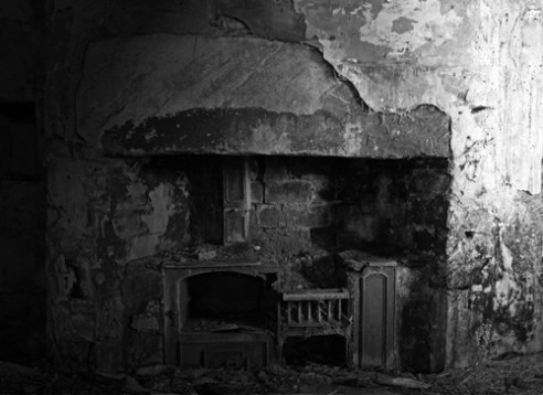 'The hearth is cold'. The interior of a former croft at Invervack, Perthshire, Scotland, abandoned in the early 1900's, and had in the 18th century been part of a township (scattered village). All now in ruins.
