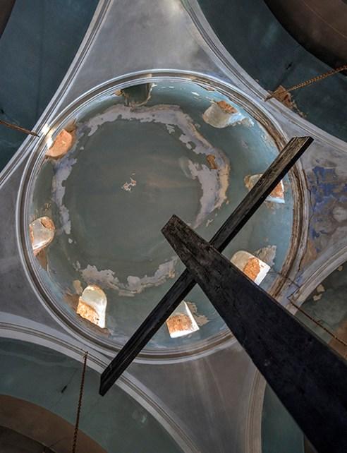 Big Cross in an abandoned church, Sounio, Greece.