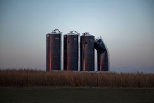Grain silos at sunset North of Cullison