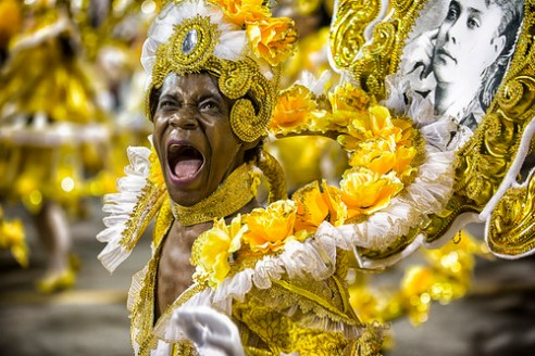 São Paulo, Brazil- February 7, 2016: A Brazilian samba dancer performing in costume for the samba school Mocidade Alegre at the Amhembi Sambadrome in Sao Paulo.