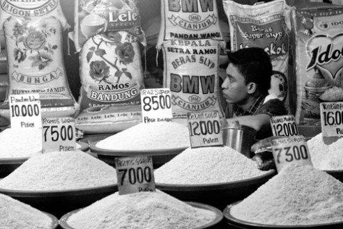 Rice Seller Kramat Jati, East Jakarta. Indonesia
