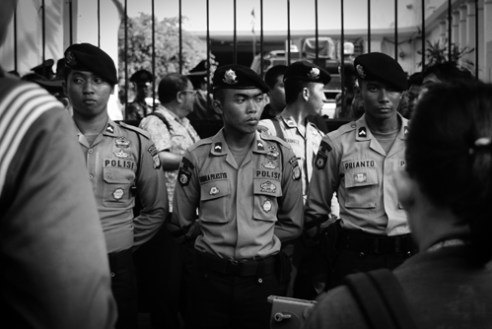 Members of the elite troops, on guard at the entrance to the National Election Commission office. The Indonesia President Elect was about to be announced. Jakarta. Indonesia 2014