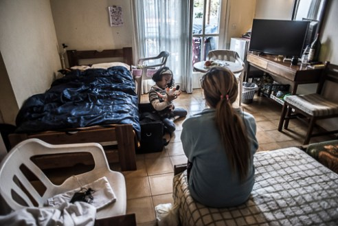 Hotel Accommodating, Chios - Greece. | The UNHCR tries to collaborate with hotel owners to provide accommodation for vulnerable cases in exchange for a financial compensation. This hotel houses around 30 refugees.