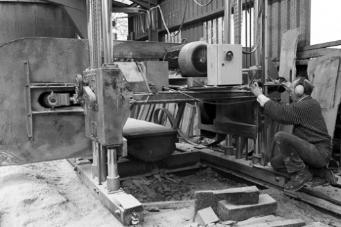 John Wall setting the saw Wall and Sons Sawmill