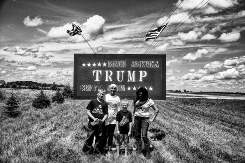 Lorraine Morrison meets a family of Trump supporters on their land outside Billings, Montana.