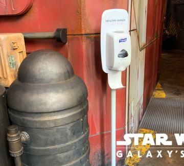 Hand sanitizer station at Docking Bay 7