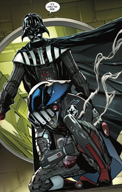 Darth Vader taunts and stands over Sixth Brother after cutting off his arm