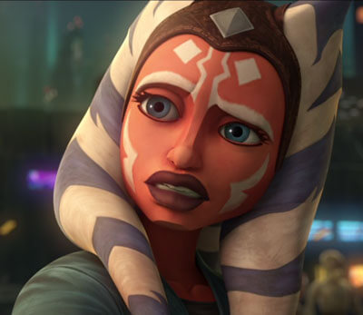 Ahsoka gives Trace a concerned look in The Clone Wars Season 7 Episode 5