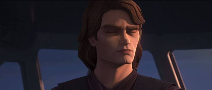 Anakin with his eyes closed, reaching out to Ahsoka through the Force