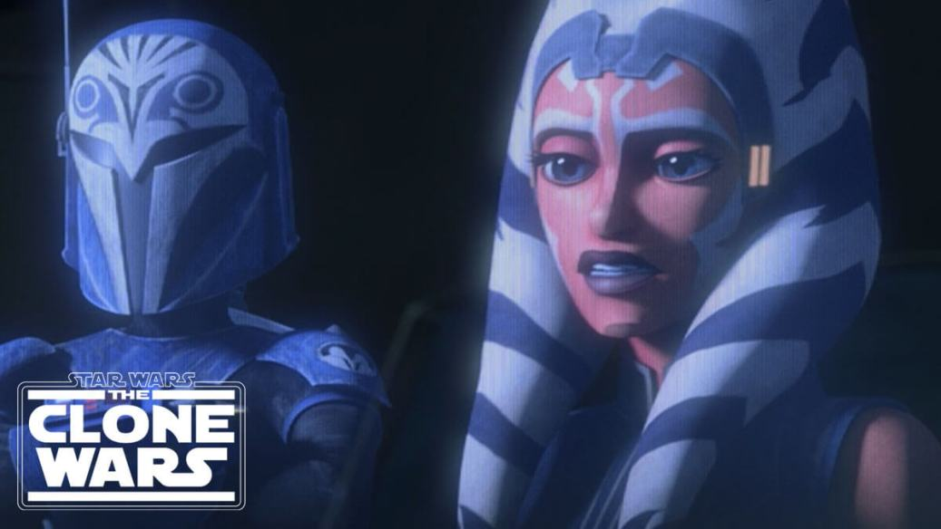 Ahsoka and Bo-Katan speak on a holocall