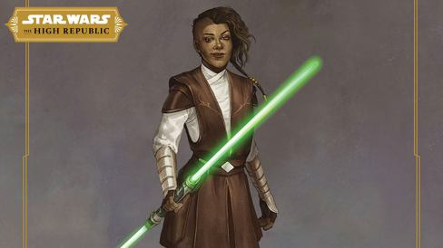 Jedi Knight Keeve Trennis holds her green dual-bladed lightsaber