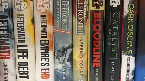 Star Wars books on the shelf