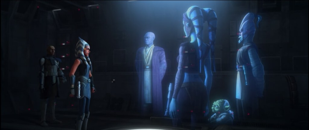Ahsoka meets with Jedi generals during Clone Wars Season 7 Episode 11